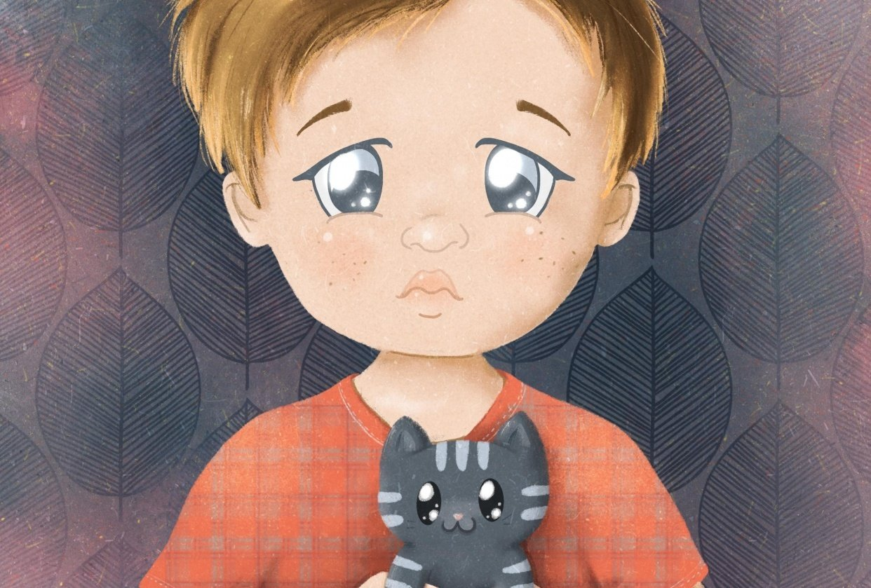 Sad boy with a kitten - student project