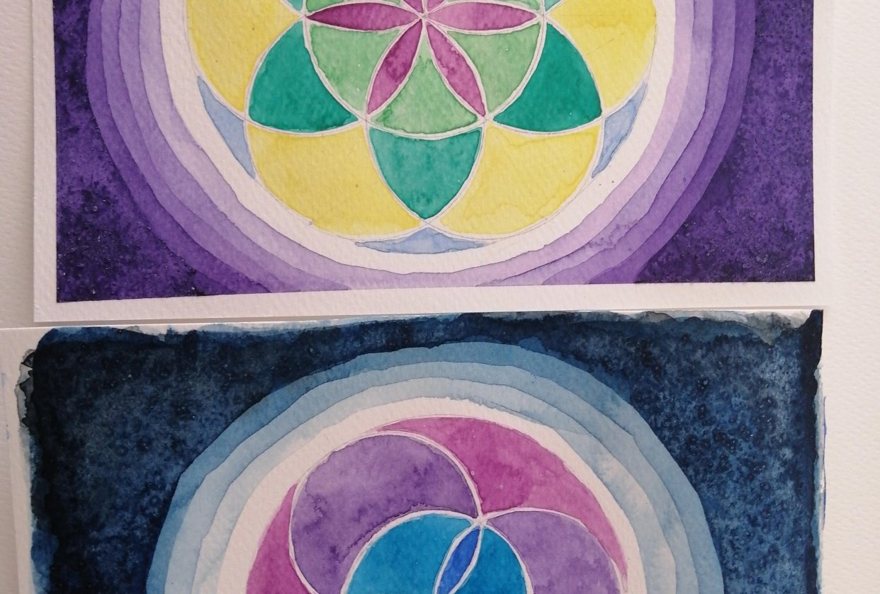 Watercolor & geometry - student project