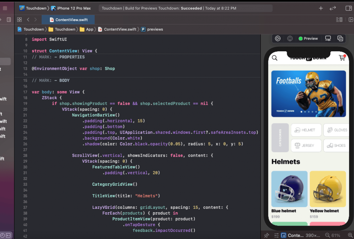 Touchdown: My e-commerce app was finished - student project