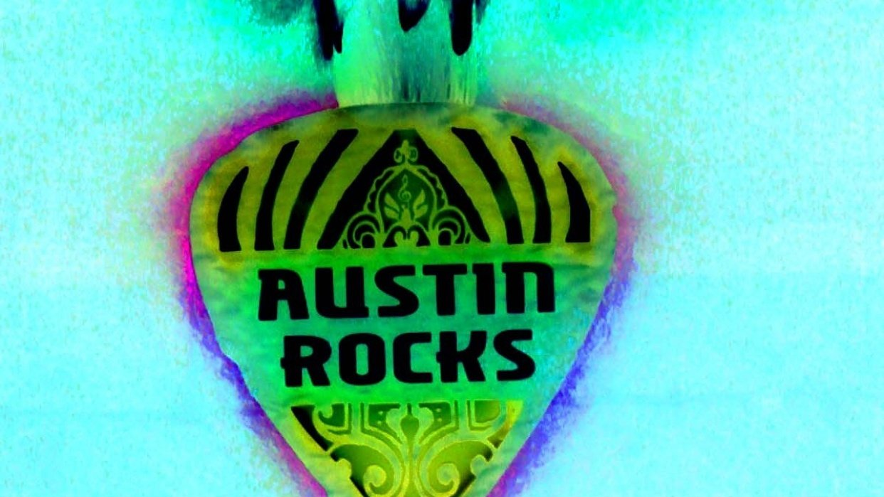 Austin Rocks. The image is from a sculpture of a guitar pic - student project