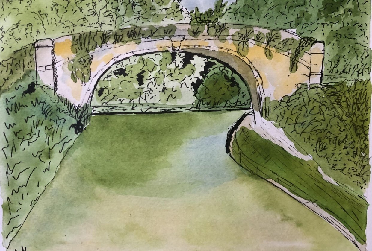 Bridge Pic + own water colour pic - student project