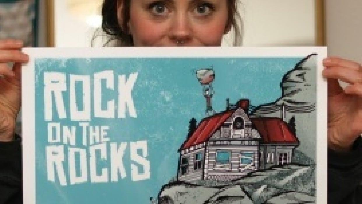 3/23 Silk scrren print: Rock on the Rocks Festival - student project