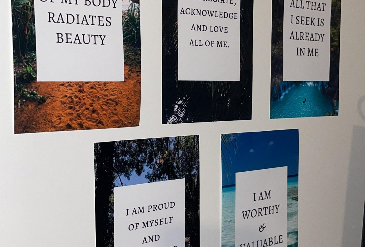 My wall with affirmations. - student project