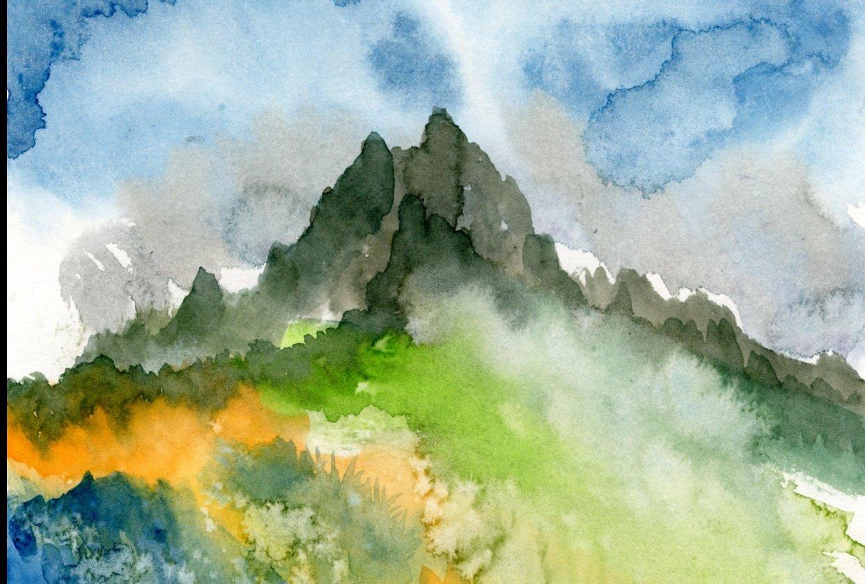 Watercolour landscape - student project