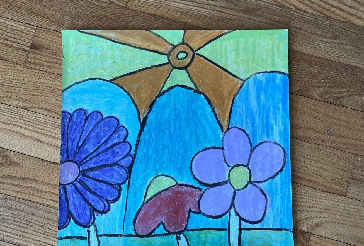 Floral Landscape Oil Pastel - student project