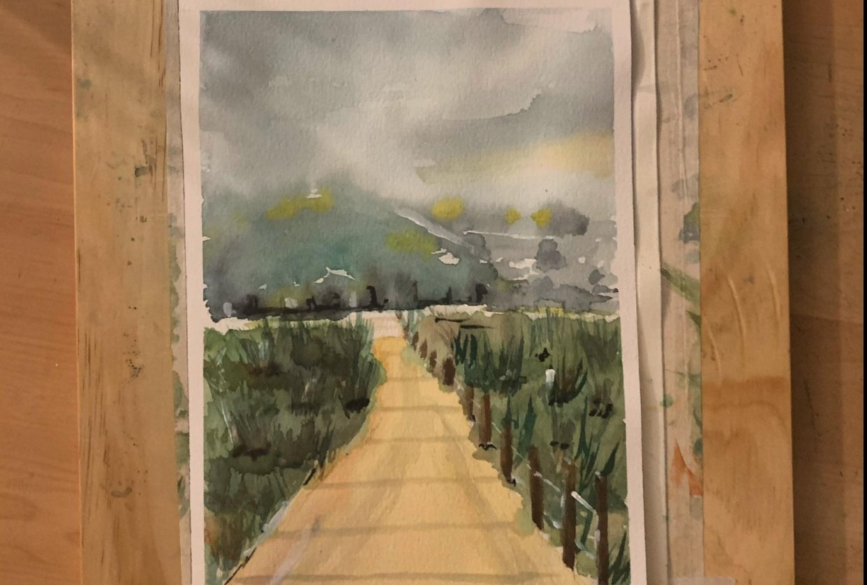 loose watercolour landscape: 1st try!! - student project