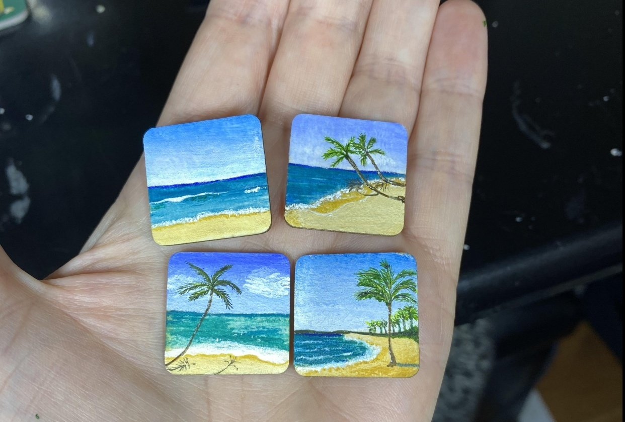 4 tiny coasters 2 cm square - student project