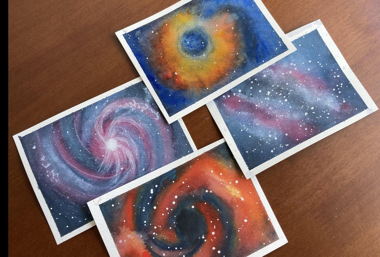 Galaxy Shapes - Vortex, Nebula, Spiral and Milky Way - student project