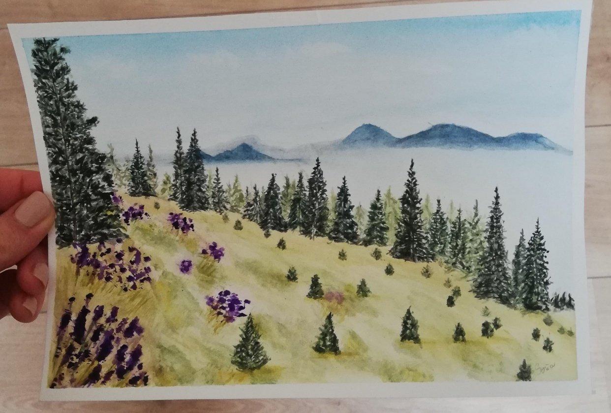 Watercolor landscape - student project
