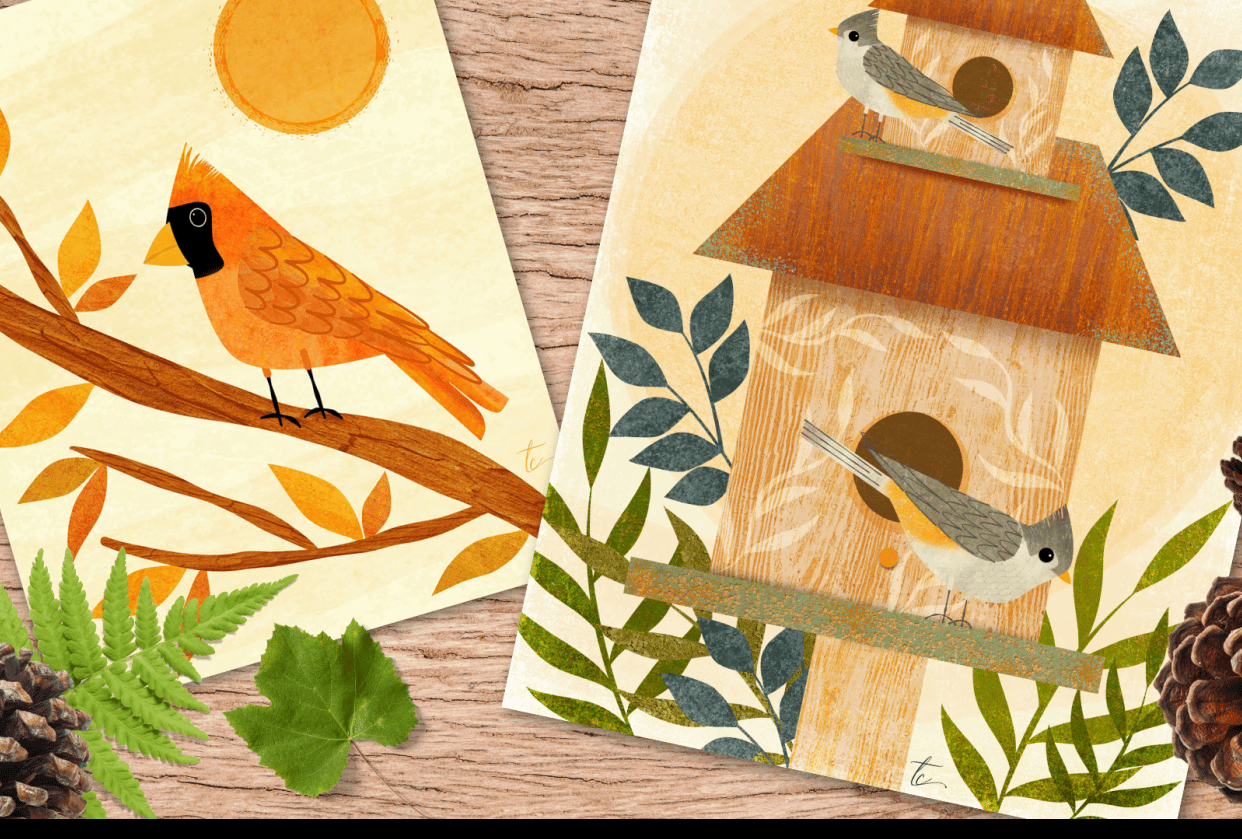 Sharing my love of all things birds, texture and Affinity Designer - student project