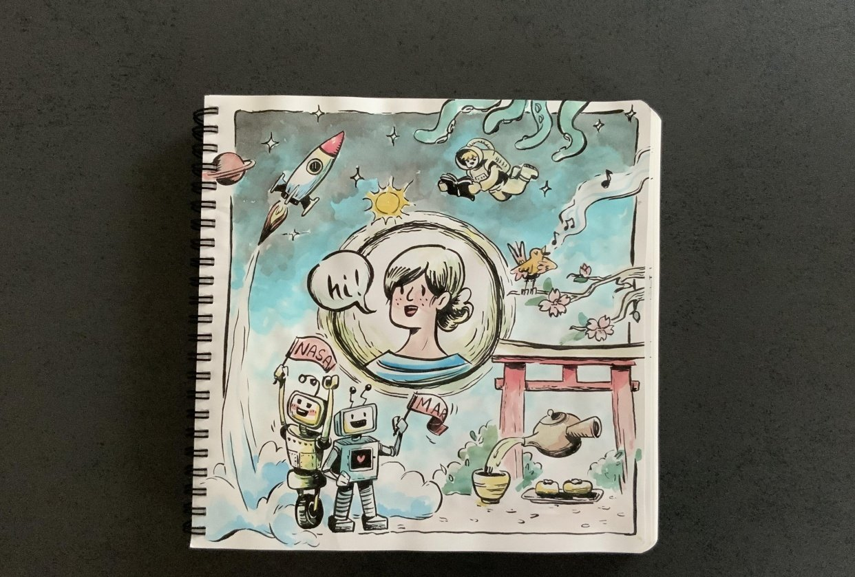 Having fun with my sketchbook - student project