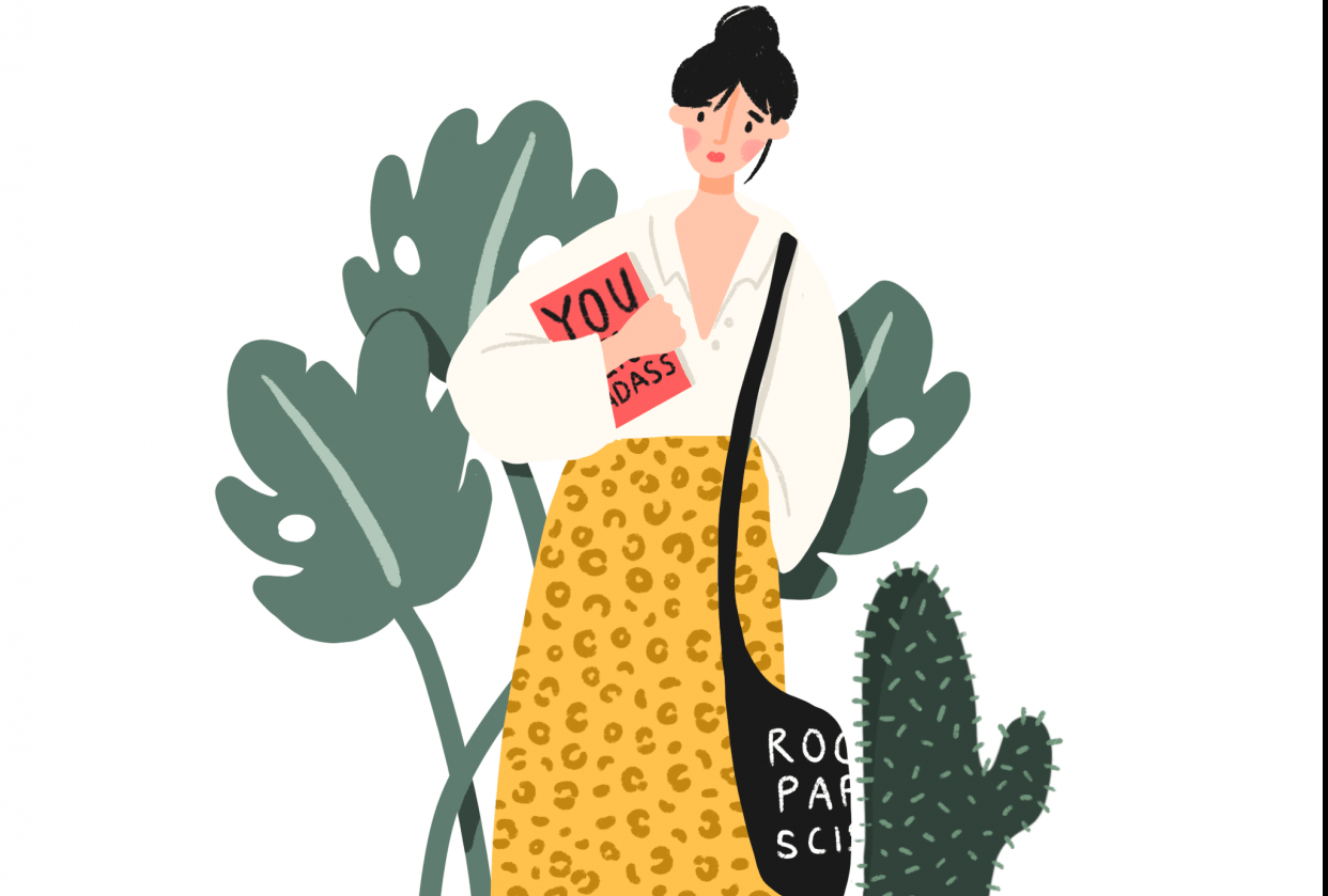 Books, leopard print & a cactus! - student project