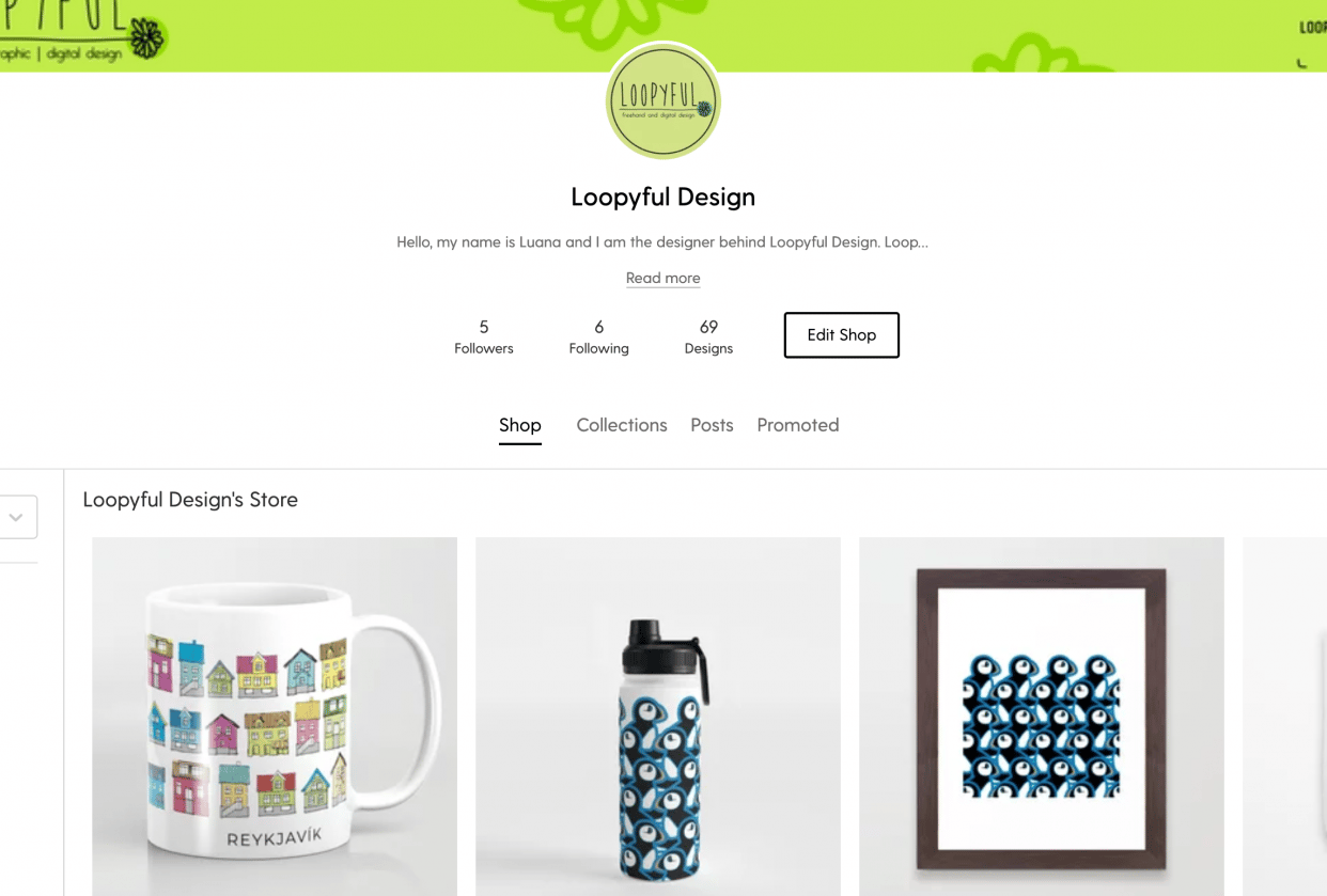 Society 6 Store - student project