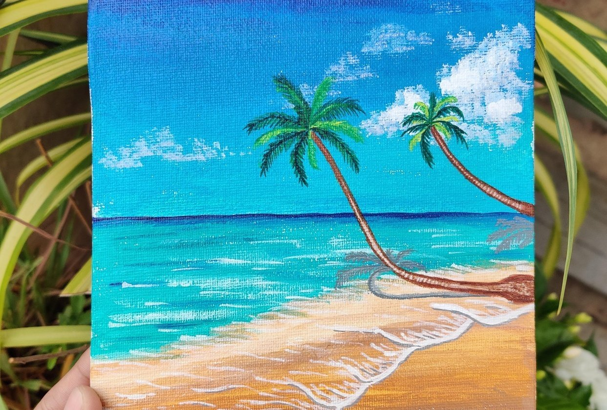 Beach and palm tree - student project