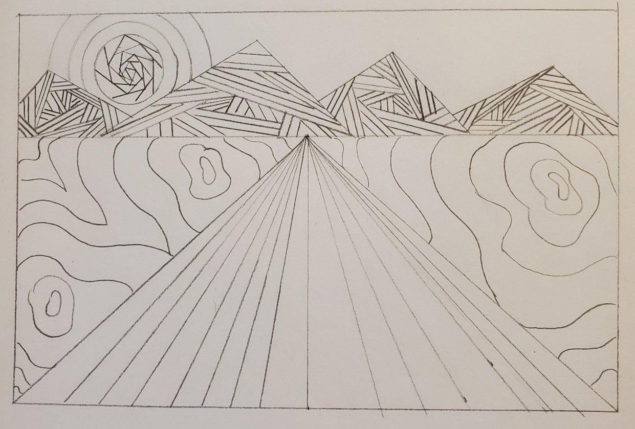 Intricate line landscape - student project