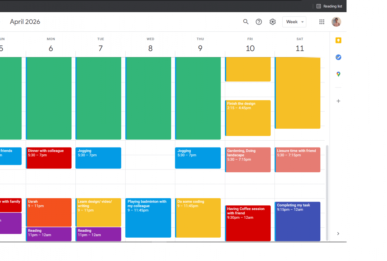 My Ordinary Week - student project