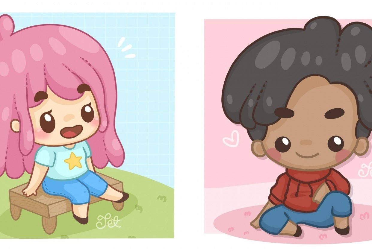 Sitting Chibis - student project