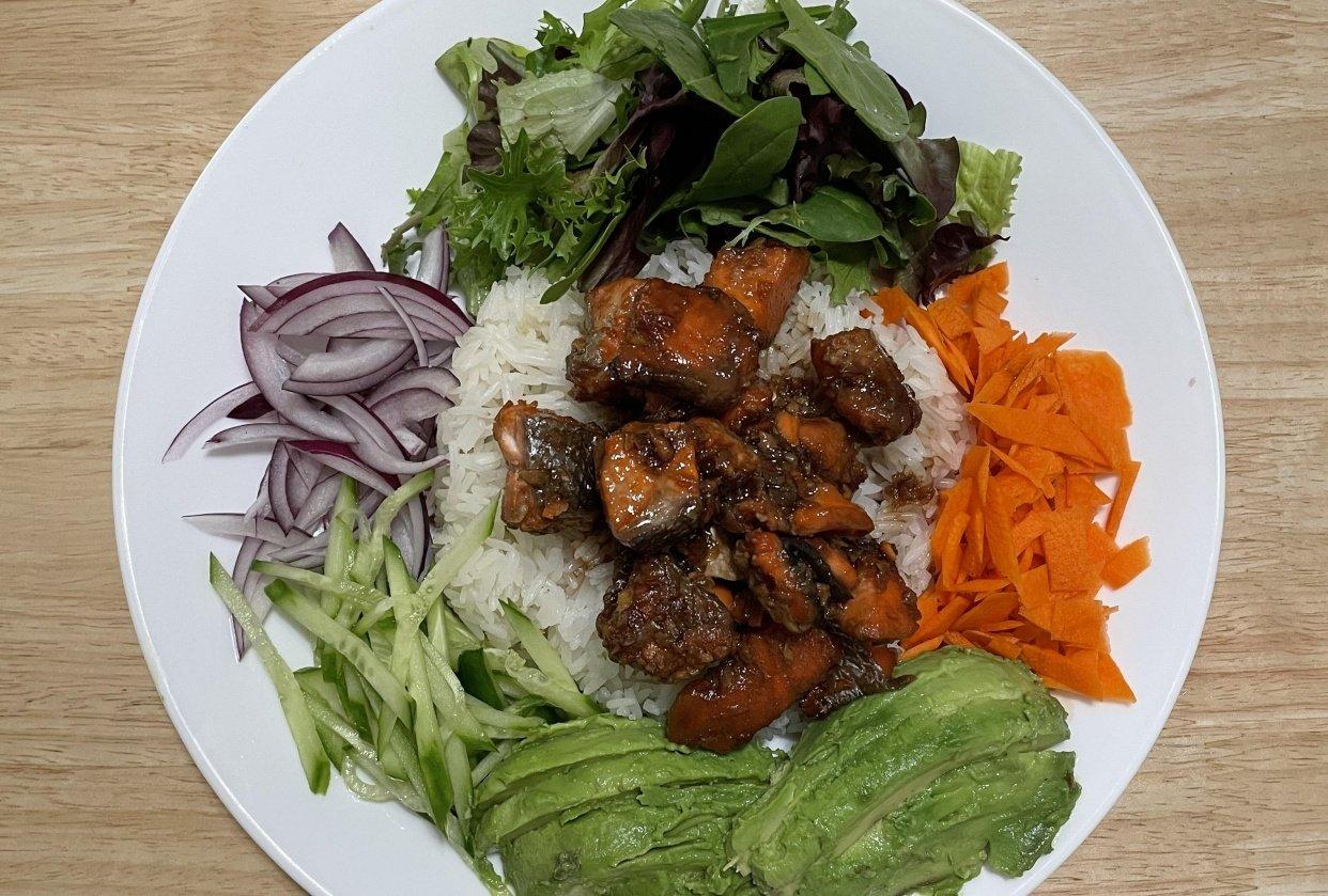 Salmon Teriyaki Rice Bowl - student project