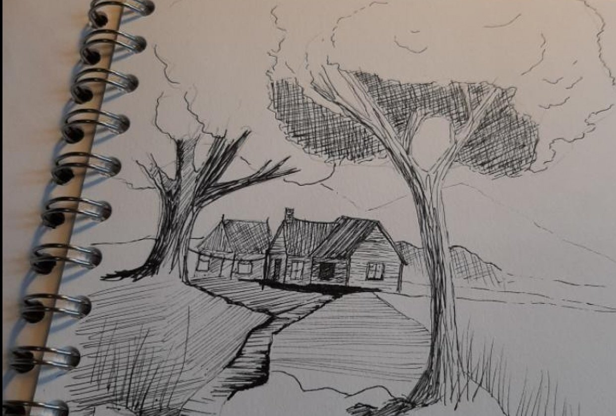 Ink and watercolor cabin - student project
