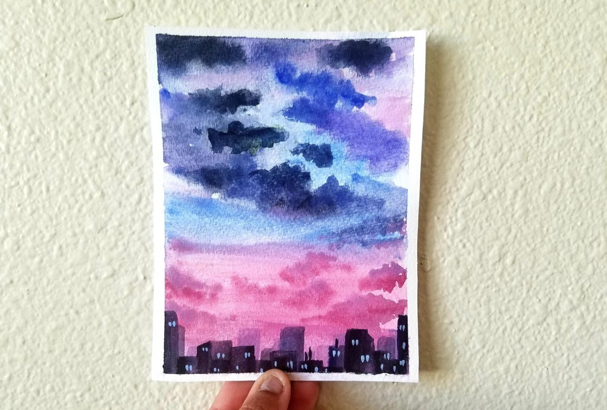 Dreamy Sunsets: Paint Dazzling Skies with Watercolor - student project