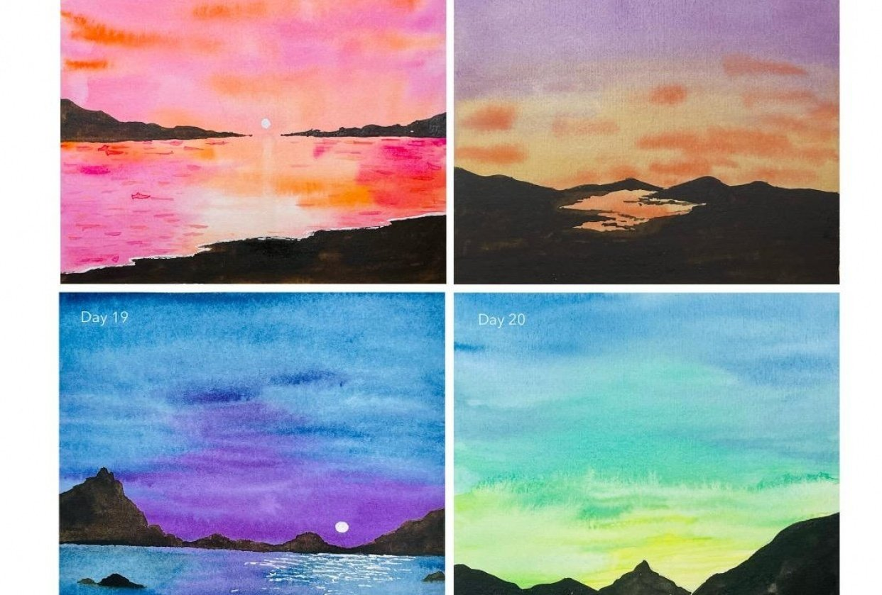 30 Day Watercolor Skies Challenge - student project