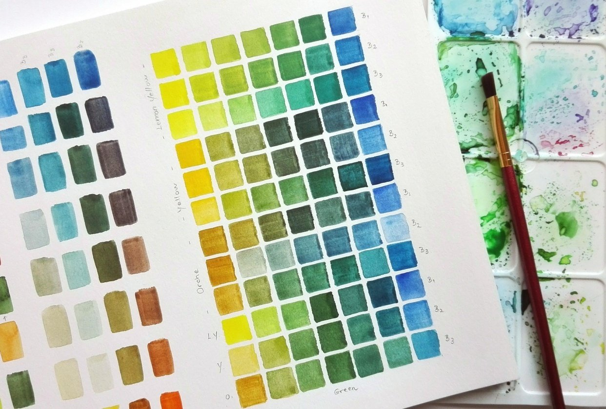 Mixing watercolour greens. - student project