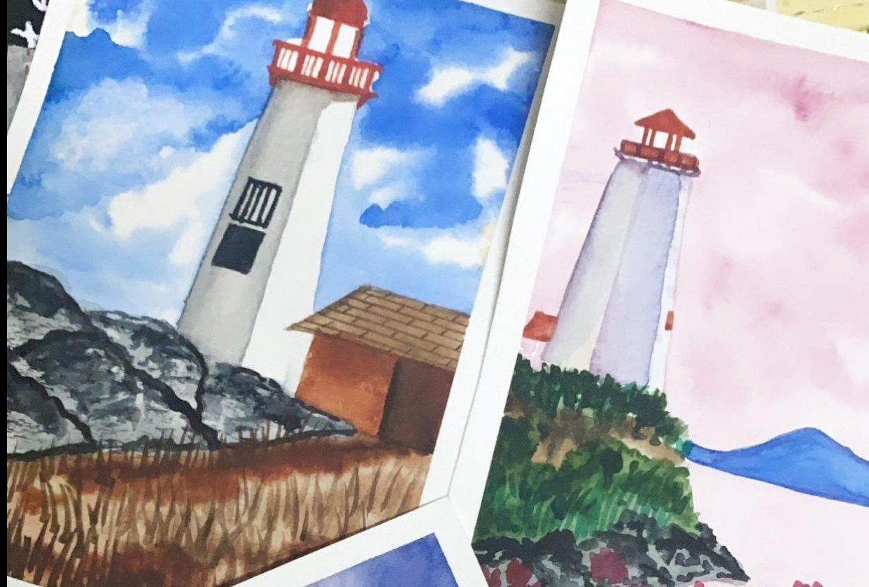Lighthouse Landscapes in watercolor - student project