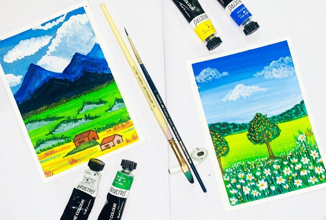 Gouache meadows - student project
