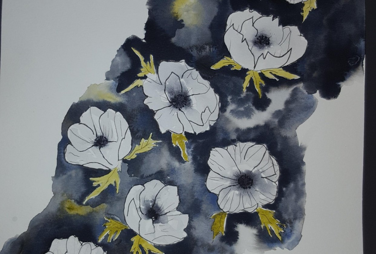 Anemones with watercolor and ink - student project