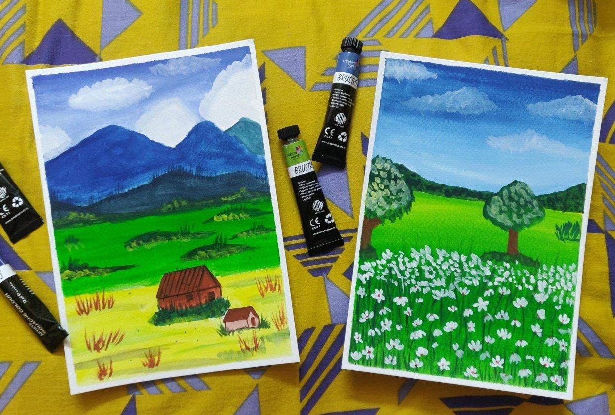 Gouache beginner landscape with Uma - student project