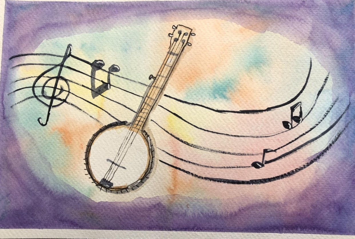 Watercolor and ink cartooning - student project