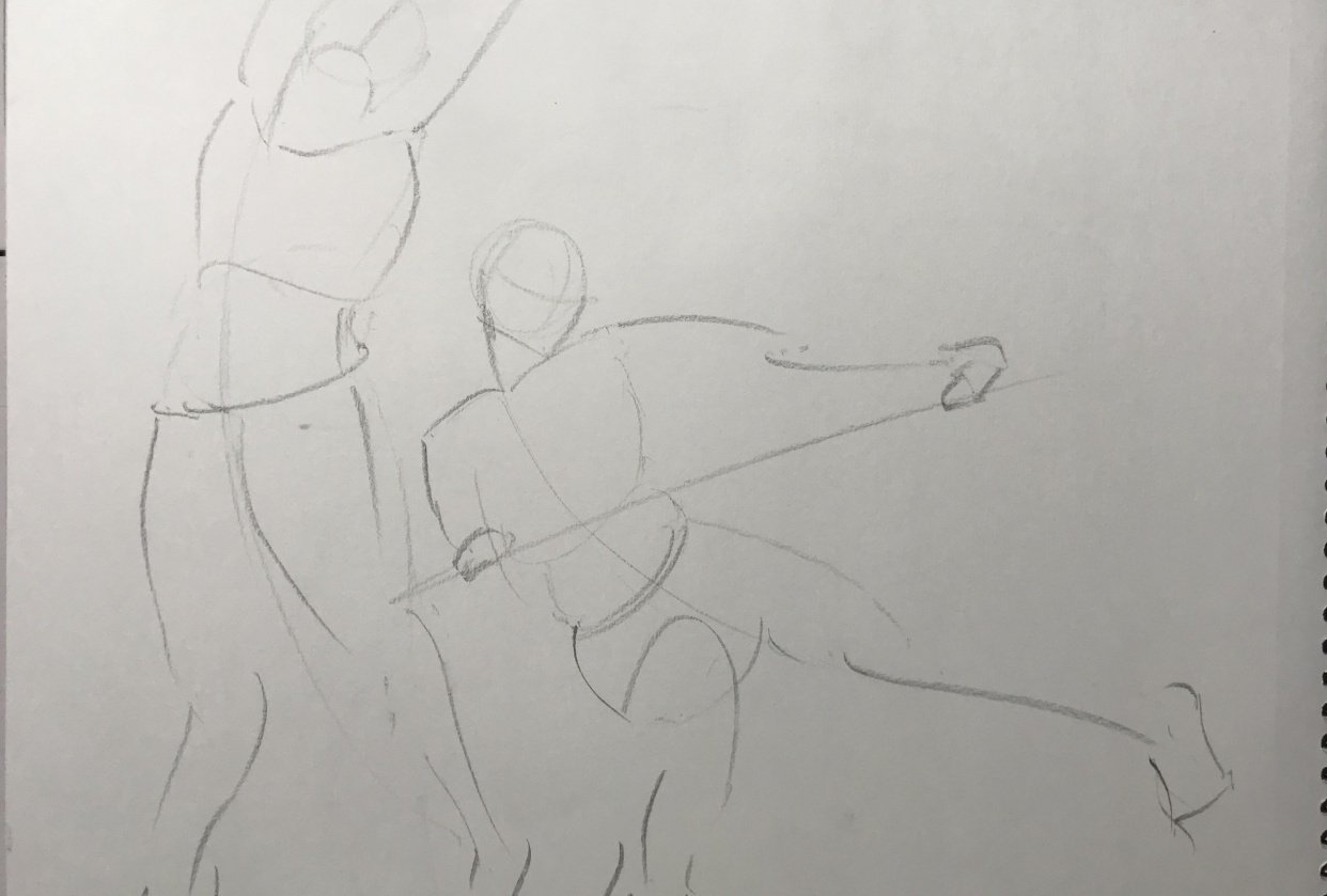 Gesture drawing assignment - student project