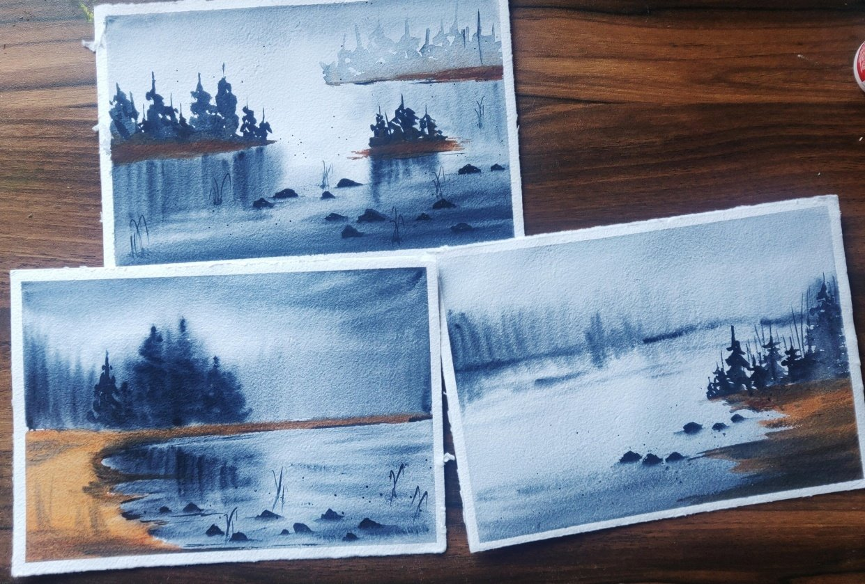 Soft and flowy watercolor landscapes - student project