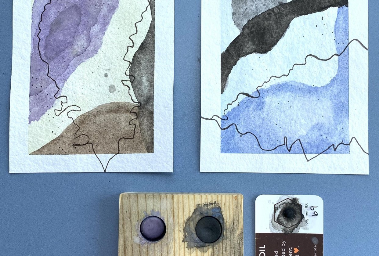 Contours and Lines using Soil-based watercolor - student project