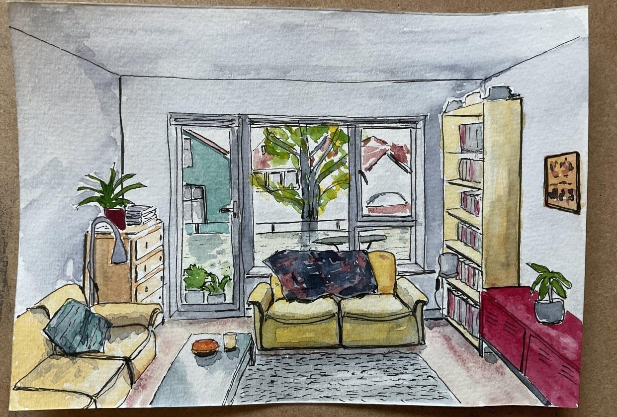Interior sketching - one point perspective - student project