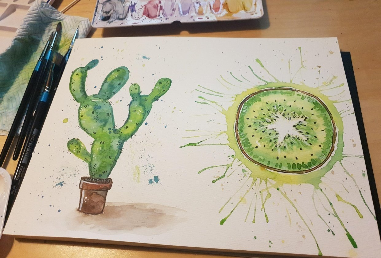 Watercolour and ink - student project