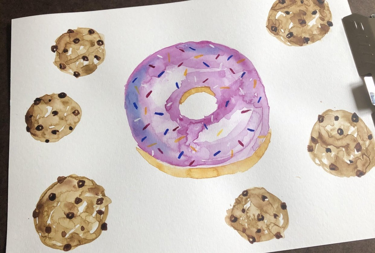 Watercolor sweets & treats - student project