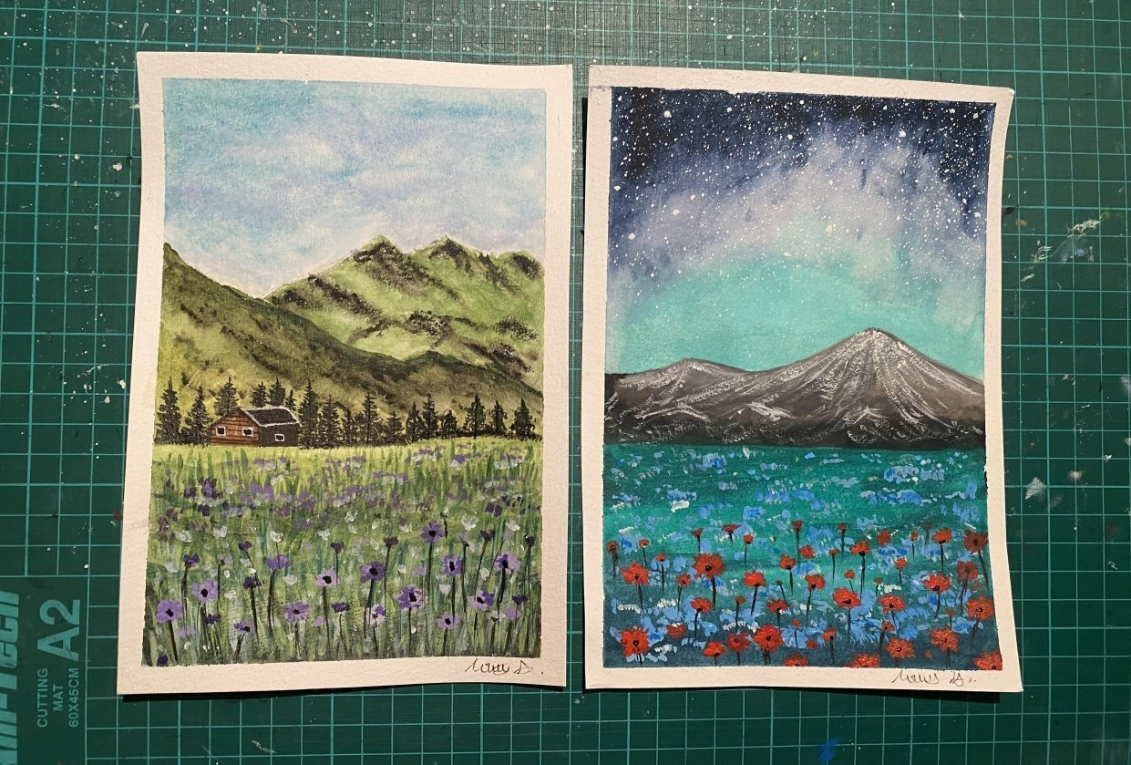 Violet Meadow and Red Blooms - student project
