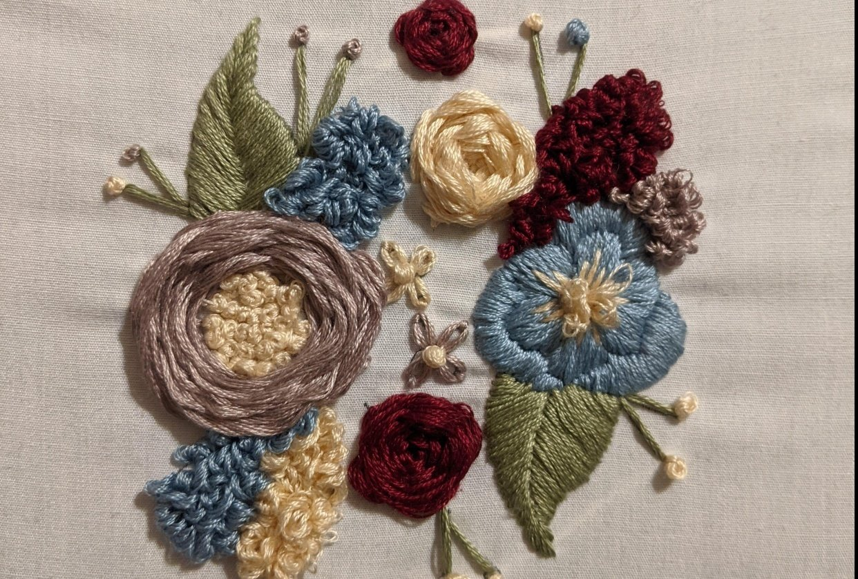 Floral embroidery - student project