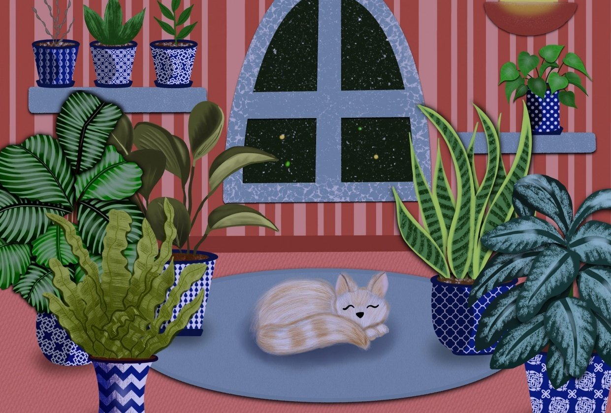 Plant night and day scene - student project