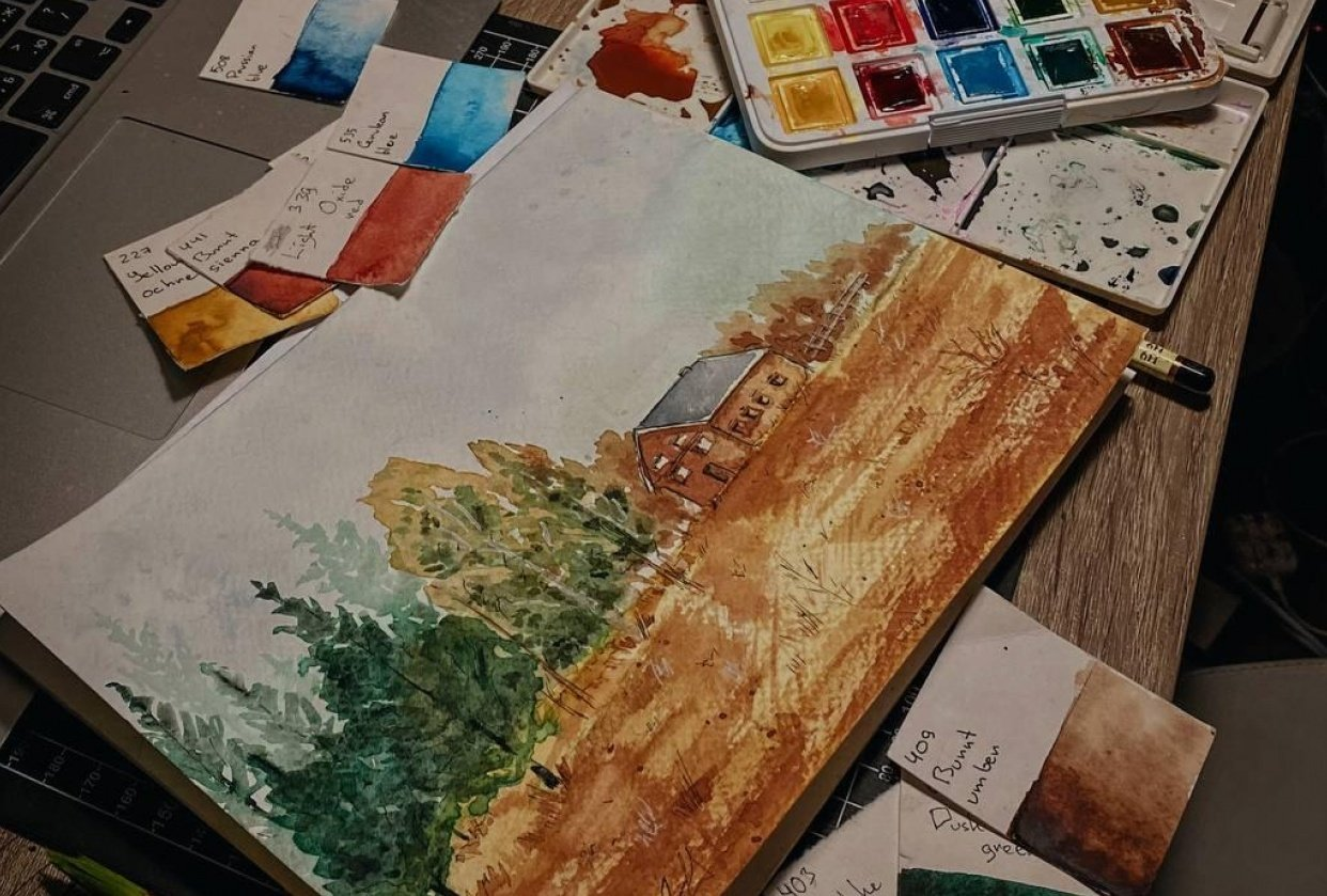 Landscape in watercolor - student project