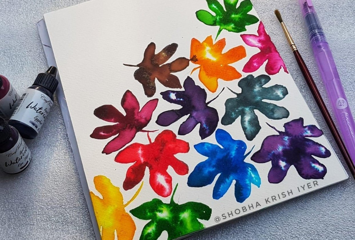 Colourful leaves in a pattern - student project