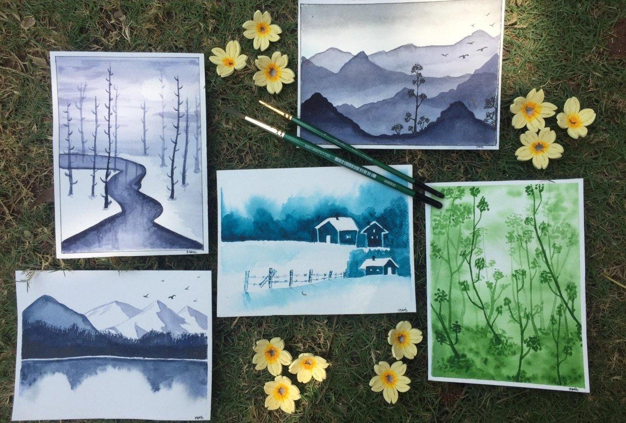 Monochrome watercolour - student project