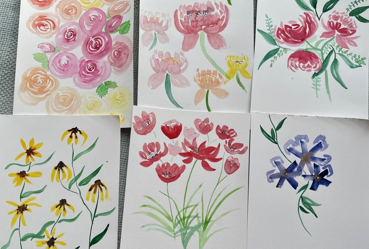 Enjoyable loose florals - student project