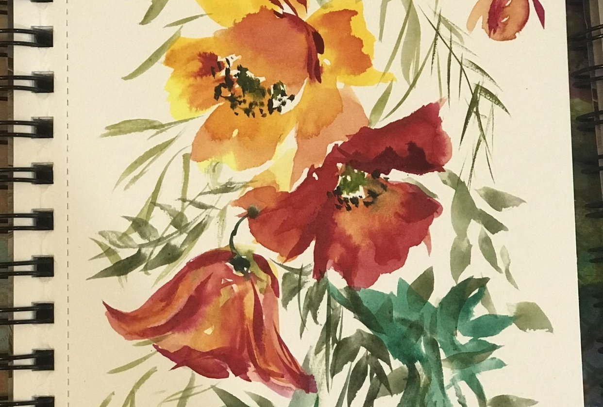 Loose Watercolor Florals - Part One - student project