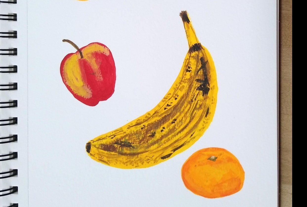 old banana & other fruit - student project