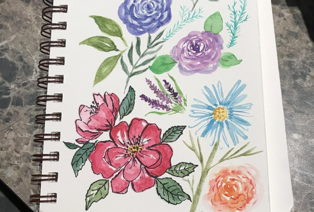 Loose florals & leaves - student project
