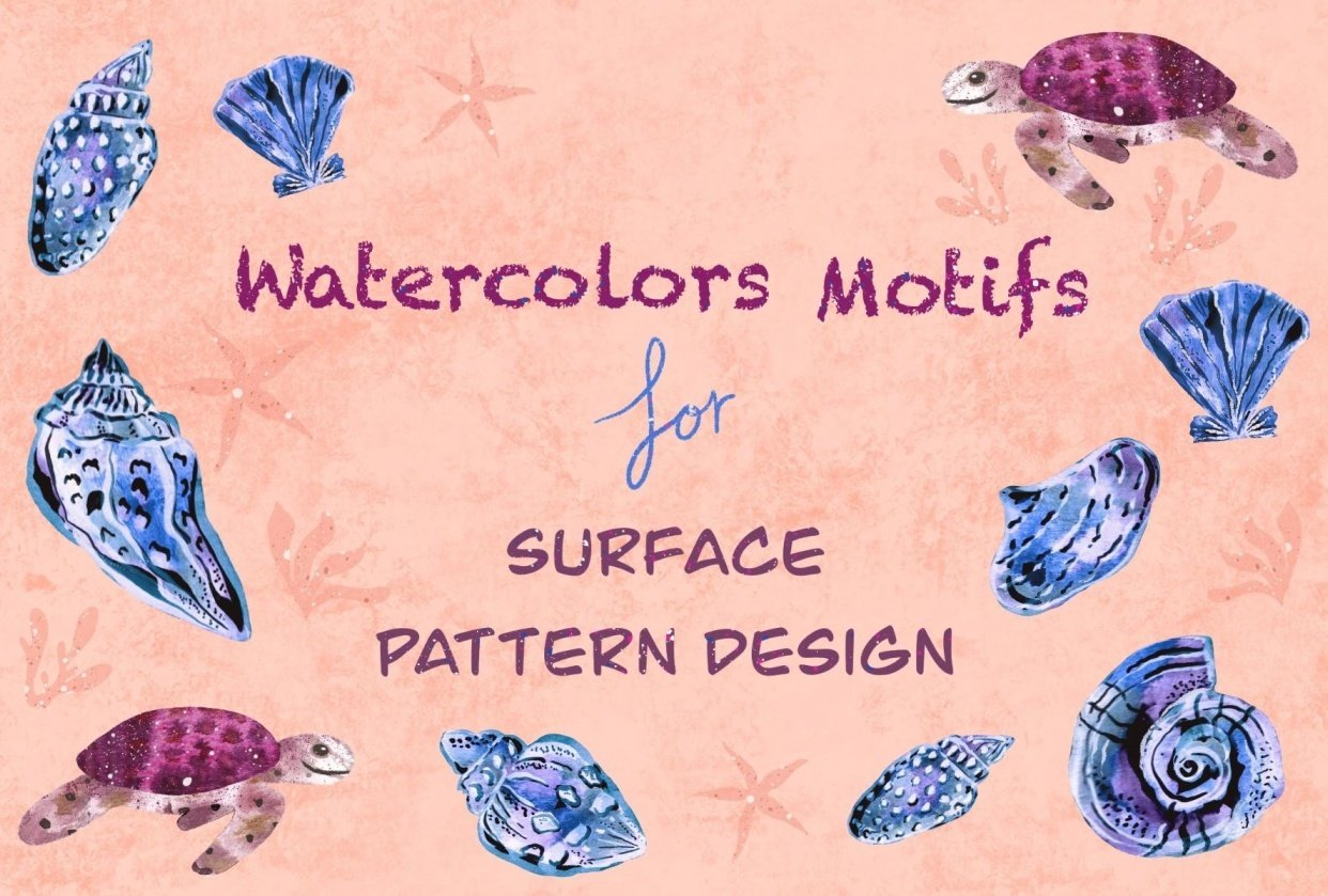 Use Your Modern Watercolor Motifs For Surface Pattern Design - student project