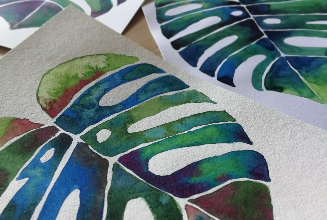 Botanical Watercolors with a Modern Twist - student project
