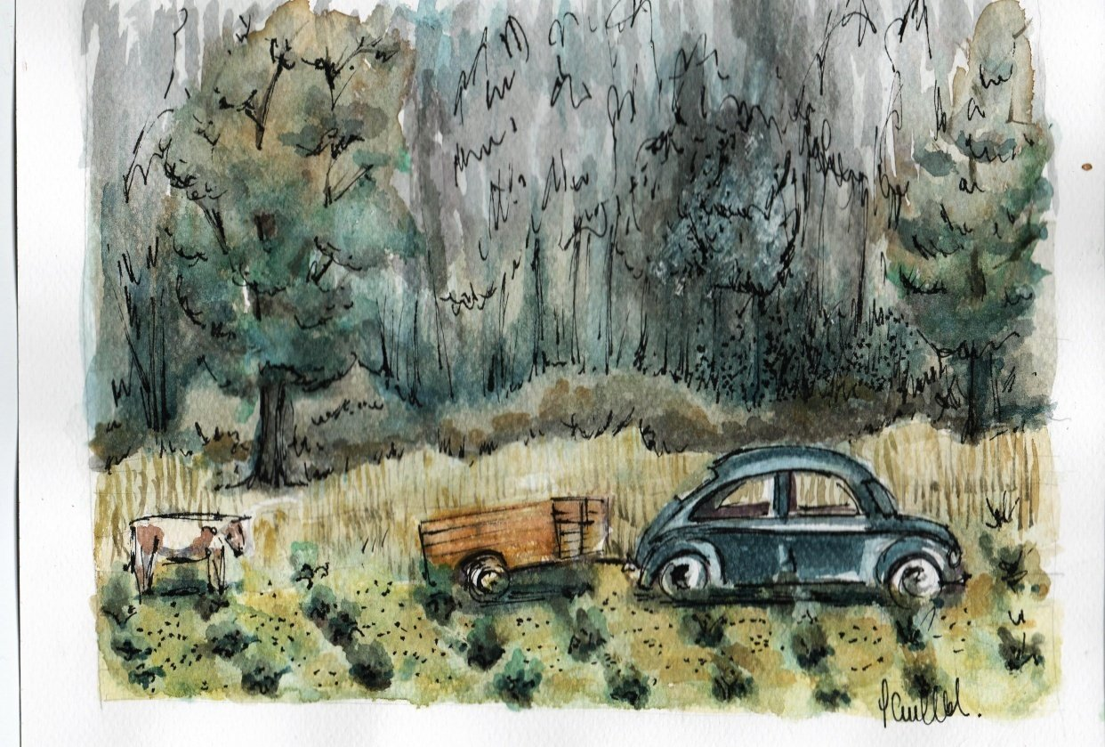 """Watercolor the country side """"Suta"""" - student project"""